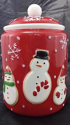 Christmas Hallmark Cookie Jar Red Canister Holiday Snowmen Snowflakes 2011