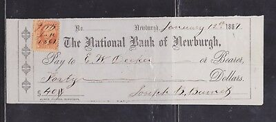 US Revenue #R6c - On The National Bank of Newburgh Check - New York 1867