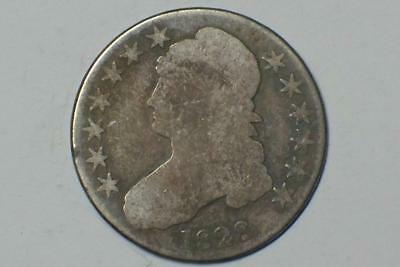 1828 SILVER BUST HALF DOLLAR LETTERED EDGE ALMOST GOOD CONDITION #9091 glcm