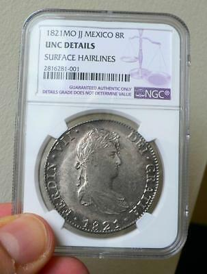 1821 Mo,JJ Mexico 8 Reales Anacs NGC Unciculated Details. Lovely example