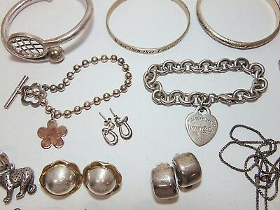 351.5 G Large Lot Wearable Sterling Silver Jewelry Bracelets Rings Pins & More