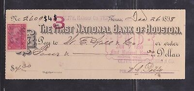 US Revenue #R164 - On The First Nat'l Bank of Houston Check - Houston Texas 1898