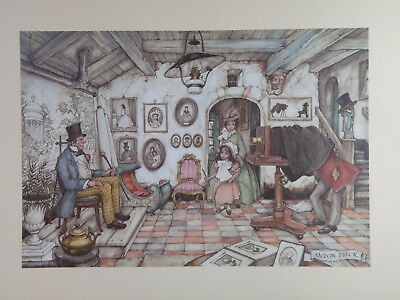 """Pair of 1979 DONALD ART CO. Lithos of Old Times by Anton Pieck 12"""" x 16"""""""