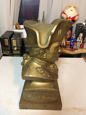 Vintage PAUL JONES Whiskey Advertising Metal Bust Liquor Store Display 11 1/4""