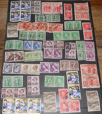 Australian Pre-Decimal Page Of Joined Stamps