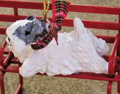 Sealyham Terrier on a Park BENCH Christmas Ornament!
