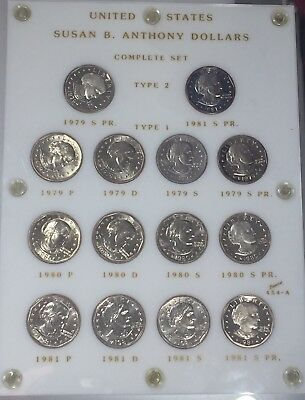 14 Coin Susan B Anthony Dollar Set! Capitol 454-A! 1979-1981! Proof/bu! Type 2!