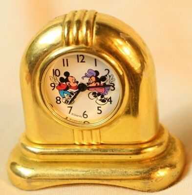 Mickey and Minnie Disney Miniature Brass Clock