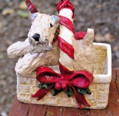 Soft Coated Wheaten Terrier CHRISTMAS BASKET Ornament!