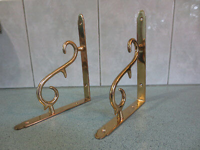 Two antique style brass scroll brackets for shelf or wall - 190mm x 160mm