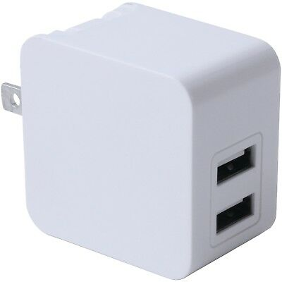 3.4 Amp Dual Port USB Wall Charger With 100V–240V Input & Foldable Plug Blades