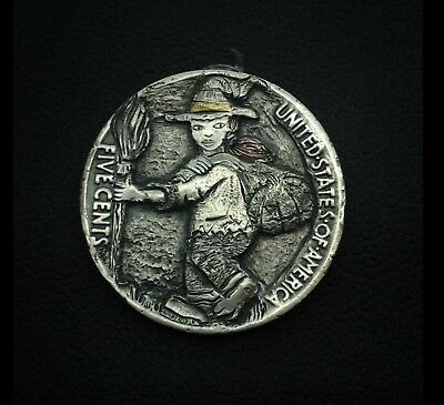 "Hobo Nickel ""Witch "" "" Happy Halloween ""engraving by Quesada ""Q"""