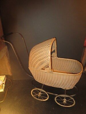 Antique Wicker BABY BUGGY or Child's Toy Carriage