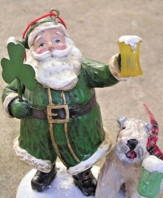 Soft Coated Wheaten Terrier TOASTING with an IRISH SANTA Ornament!