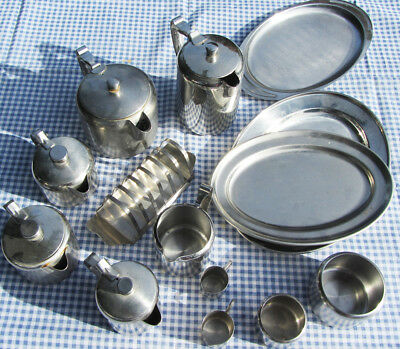 Vintage Retro Stainless Steel Breakfast Set. 2 Tea Pots and Fruit Bowl. 60s