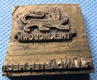 Vintage British Militaria Printing Block - WWI? The Kings Own Lancaster Regiment