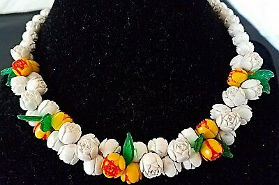 Beautiful Vintage Antique Celluloid Rose Flower Carved Necklace Beaded Jewelry