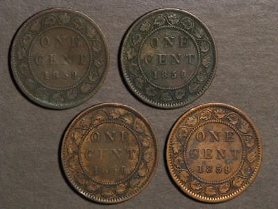 CANADA 1859 1 Cent Victoria - Lot of 4 Coins