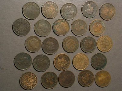 CANADA 1876-1901 1 Cent Victoria - Lot of 25 Mixed Date Coins