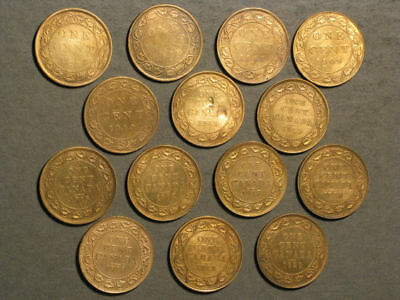 CANADA 1893-1920 1 Cent - Lot of 14 Mixed Date Coins
