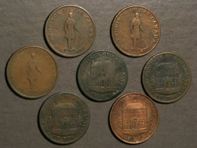 CANADA-LOWER 1837-1844 1/2 Penny - 7 Coins