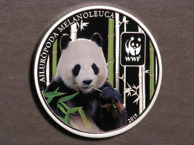 CENTRAL AFRICAN REPUBLIC 2015 100 Francs WWF Panda Silvered Choice Proof