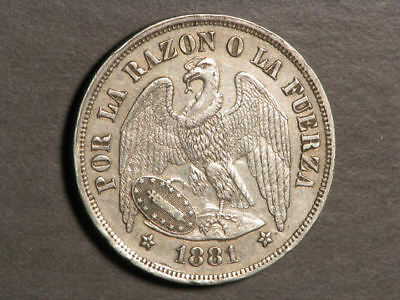 CHILE 1881 1 Peso Silver Crown VF