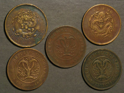CHINA Circa Early 1900's 20 Cash - 5 Coins