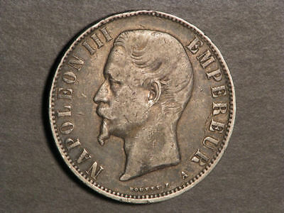 FRANCE 1855A 5 Francs Napoleon III Silver Crown Fine