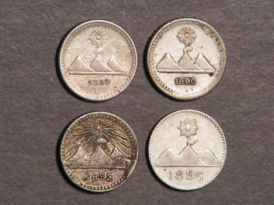 GUATEMALA 1889-1896 1 Real Silver VF-XF - 4 Coins/Dates