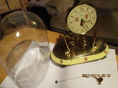 Vintage Kern & Sohne Miniature Right Hand Wind Anniversary Clock In Oval Dome