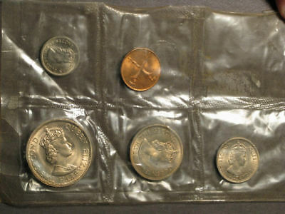MALAYA & BRITISH BORNEO 1961-1962 5 Coin Type UNC Mint Set in Sealed Plastic