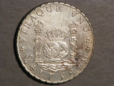 MEXICO 1758MoMM 8 Reales Pillars Silver Crown XF-AU