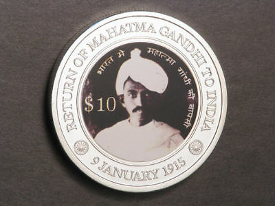 MICRONESIA 2015 $10 Gandhi Silvered Colorized Crown-Size UNC - Mtg=400