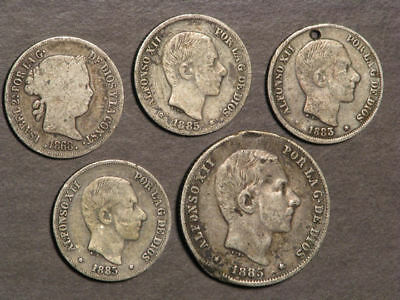 SPAIN 1800's Lot of 5 Silver Cull Coins