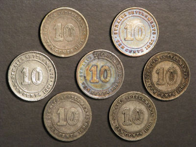 STRAITS SETTLEMENTS 1884-1900 10 Cents Silver - 7 Coins/Dates
