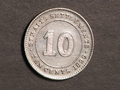 STRAITS SETTLEMENTS 1899 10 Cents Silver XF