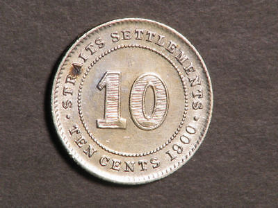 STRAITS SETTLEMENTS 1900 10 Cents Silver XF