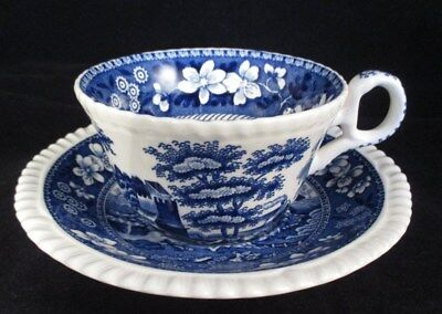 Spode Blue Tower Flat Cup and Saucer New Back Stamp
