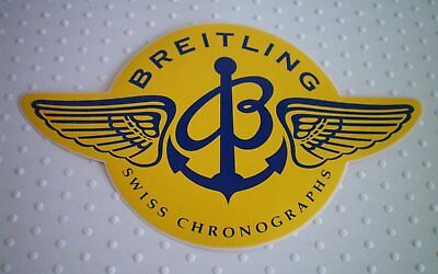 Authentic Breitling watch B-wings yellow / navy blue sticker / decal / label.