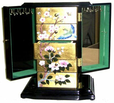 Chinese Oriental Gold Flake Musical Jewelry Box - Plays Love Story Theme