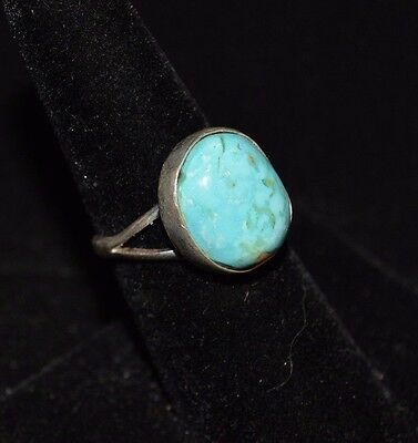 Ring Turquoise Mountain & Sterling Silver Native American Artist C Begay Size 8