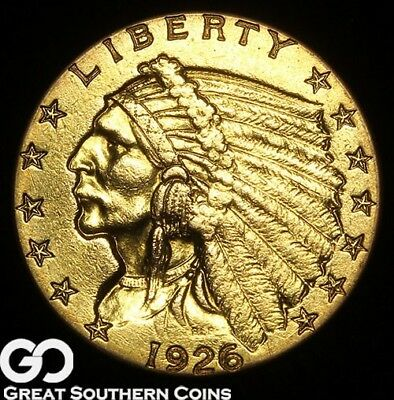 1926 Quarter Eagle, $2.5 Gold Indian, Collector Gold Coin ** Free Shipping!
