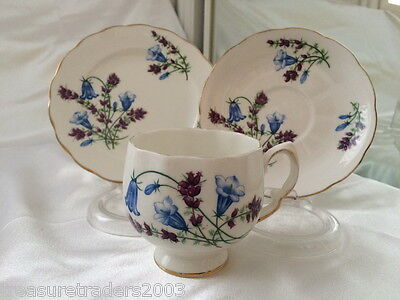 ♡ Colclough Trio Side Plate, Saucer & Teacup Blue Bells & Purple Flowers