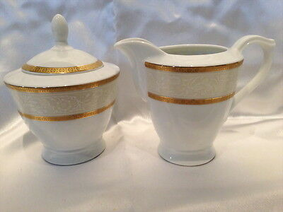 ♡ Porcelain Lidded Sugar Pot+ Milk Creamer Jug Off White With Gold Trim High Tea