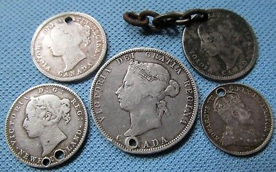 Lot of 5 1800s Victoria 1910 Edward VII Canada Old Silver Coins - Holed Jewelry