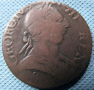 1775 British US Colonial King George III Halfpenny -NonRegal Scarce Parrot Head