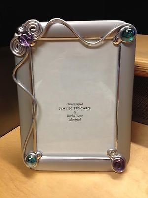 Photo frame hand crafted handmade with stone decoration color silver