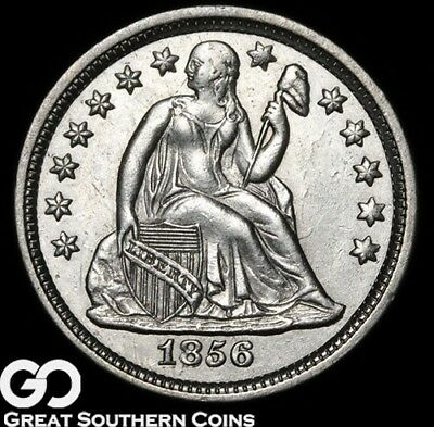 1856 Seated Liberty Dime, Blast White Luster, Choice BU++ Early Silver Dime