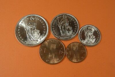 1960's SWITZERLAND 5 COIN SET - UNCIRCULATED - SILVER